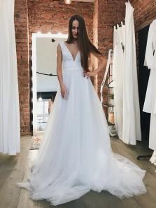 Elegant A-Line V Neck Open Back White Tulle Long Wedding Dresses,Charming Bridal Gown