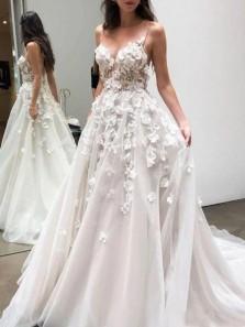 Fairy A-Line Sweetheart Open Back White Tulle Handmade Flowers Wedding Dresses