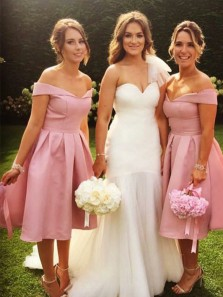 Simple A-Line Off the Shoulder Open Back Pink Satin Below Knee Length Bridesmaid Dresses Under 100