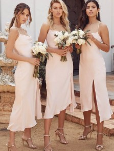 Gorgeous Sheath Cowl Neck Light Pink Tea Length Bridesmaid Dresses with Split Under 100