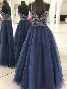 Luxurious A-Line Spaghetti Straps Open Back Navy Blue Tulle Long Prom Dresses with Embroidery,Charming Graduation Dresses