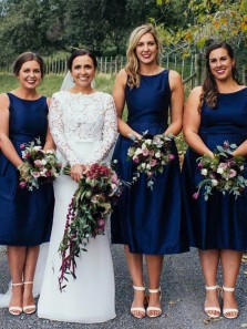 Simple A-Line Boat Neck Navy Blue Midi Bridesmaid Dresses Under 100