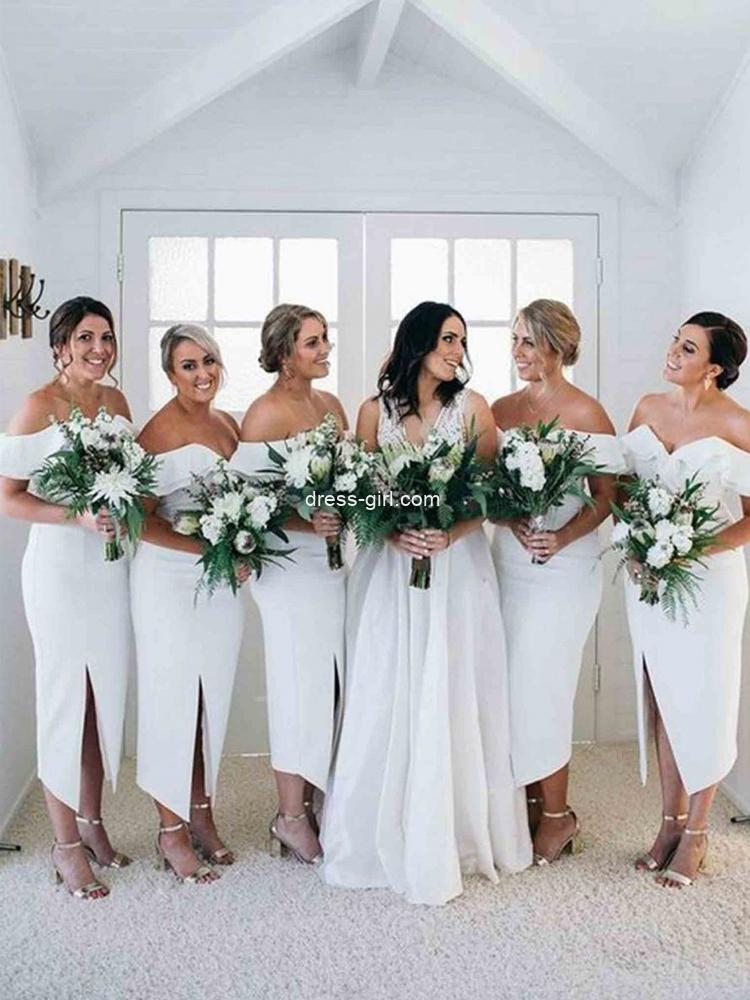 Elegant Sheath Off the Shoulder White Satin Midi Bridesmaid Dresses