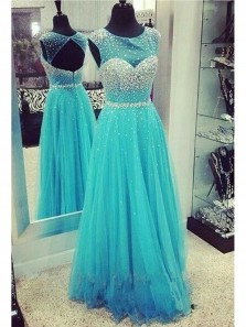 Cute A Line Cap Sleeve Open Back Teal Homecoming Dresses With Beading