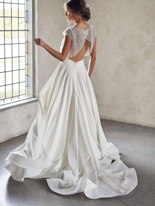 Elegant Two Piece Round Neck Cap Sleeves Sequin Satin Wedding Dresses