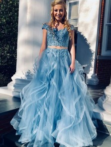 Luxurious Blue Lace Off Shoulder Prom Dress,Tulle Ruffled Beaded Two Piece Evening Dress