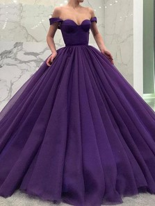 Charming A-Line Off the Shoulder Open Back Purple Tulle Long Prom Dresses,Elegant Evening Gown Prom Gown