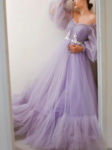 Elegant A-Line Off the Shoulder Long Sleeves Lilac Tulle Long Prom Evening Dresses with Appliques