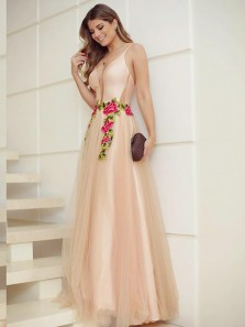 Charming A-Line V Neck Open Back Champagne Tulle Long Prom Dresses with Embroidery,Elegant Evening Party Dresses