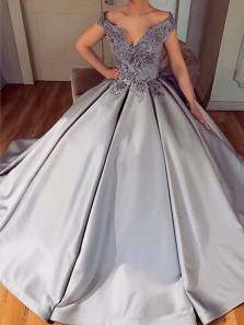 Charming Off the Shoulder Open Back Grey Satin Long Prom Dresses with Appliques,Quinceanera Dresses