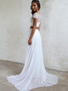 Modest Two Piece Cap Sleeve White Chiffon Beach Wedding Dresses with Lace