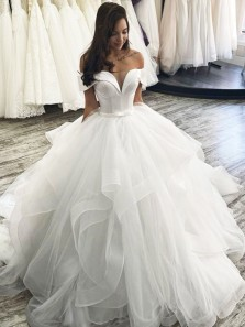 Ball Gown Off the Shoulder Open Back White Satin Tulle Wedding Dress