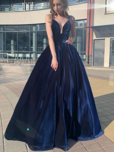 Elegant A-Line V Neck Spaghetti Straps Navy Blue Velvet Long Prom Evening Dresses