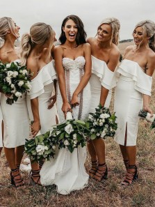 Cute Sheath Off the Shoulder Open Back White Satin Below Knee Length Bridesmaid Dresses