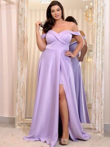Elegant A-Line Off the Shoulder Open Back Lavender Satin Long Prom Dresses with Split,Evening Party Dresses