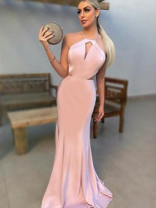 Charming Mermaid Halter Open Back Blush Satin Long Prom Dresses,2019 Evening Party Dresses