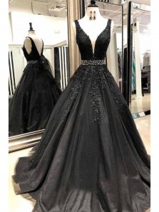 Elegant A-Line V Neck Backless Black Tulle Long Prom Dresses with Appliques,Evening Party Dresses