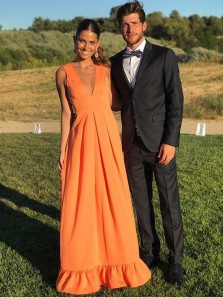 Modest A-Line Deep V Neck Orange Long Prom Dresses with Ruffle,Evening Party Dresses