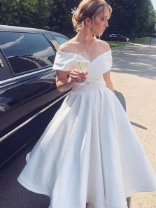Lovely A-Line Off the Shoulder Tea Length White Satin Prom Dresses,Wedding Guest Dresses