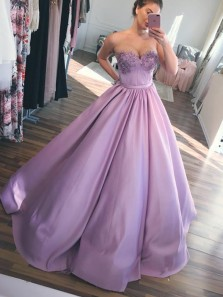 Stunning Ball Gown Sweetheart Open Back Lavender Satin Long Prom Dresses with Flower Appliques
