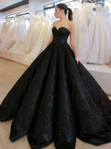 Ball Gown Sweetheart Open Back Black Sequins Long Prom Dresses,Formal Prom Gown
