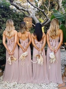 Elegant A-Line Square Neck Blush Chiffon Long Bridesmaid Dresses with Bow