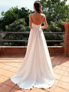 Simple A-Line V Neck Spaghetti Straps White Soft Satin Long Prom Evening Dresses with High Split