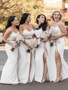Sexy Mermaid V Neck Spaghetti Straps White Long High Slit Bridesmaid Dresses
