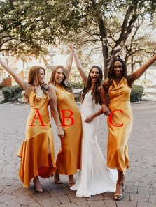 Elegant Sheath Mismatched Yellow Tea Length Bridesmaid Dresses Under 100