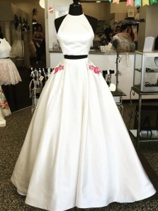Unique Two Piece Round Neck White Satin Long Prom Evening Dresses with Pockets,Formal Party Dresses