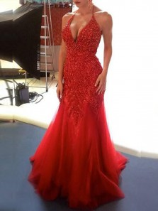 Luxurious Mermaid Halter Open Back Red Tulle Long Prom Dresses with Beading,Formal Evening Party Dresses