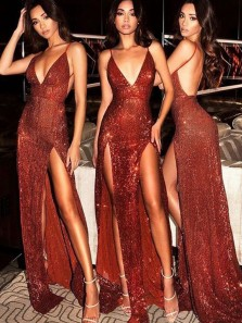 Sparkly Mermaid Spaghetti Straps V Neck Backless Burgundy Sequins Long Prom Dresses,Formal Evening Dresses