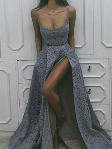 Charming A-Line Scoop Neck Open Back Grey Lace Long Prom Dresses with Slit,Evening Party Dresses