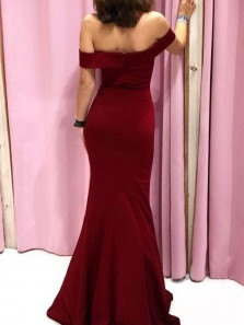 Stylish Mermaid Off the Shoulder Open Back Burgundy Elastic Satin Long Prom Dresses,Evening Party Dresses