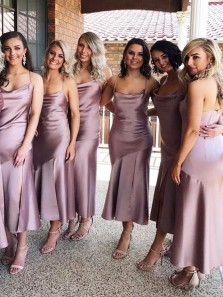 Simple Sheath Cowl Neck Dusty Purple Satin Ankle Length Bridesmaid Dresses Under 100,Cheap Wedding Guest Dresses
