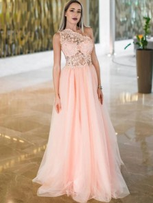 Stunning A-Line One Shoulder Pink Tulle Long Prom Evening Dresses with Appliques