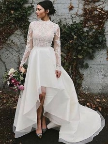 Vintage A-Line Round Neck Long Sleeve High Low Satin Lace Wedding Dresses