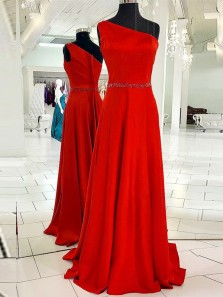 Unique A-Line One Shoulder Red Satin Long Prom Dresses with Beading,Formal Party Dresses