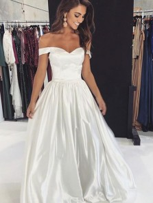 Simple A-Line Off the Shoulder Open Back Ivory Satin Long Prom Dresses with Pockets,Evening Party Dresses