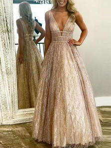 Sparkly A-Line V Neck Open Back Champagne Sequins Long Prom Dresses,Formal Party Dresses