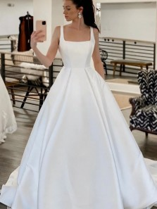 Elegant A-Line Square Neck White Satin Wedding Dresses with Pockets
