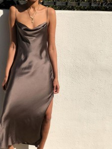 Chic Sheath Spaghetti Straps Open Back Brown Satin Prom Dresses with Side Split,Cocktail Party Dresses DG0412005