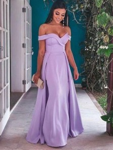Charming A-Line Off the Shoulder Lilac Satin Long Prom Dresses,Evening Party Dresses