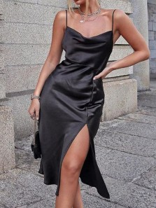 Sheath Cowl Neck Spaghetti Straps Black Silk Tea Length Wedding Guest Dresses with Side Slit