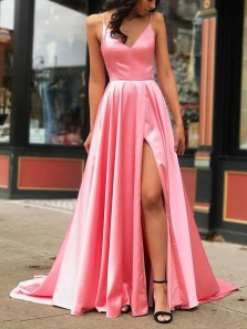 Gorgeous A-Line V Neck Spaghetti Straps Pink Satin Long Prom Eveninf Dresses with High Split