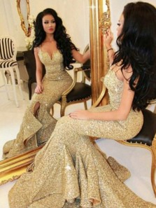 Sparkly Mermaid Sweetheart Spaghetti Straps Open Back Gold Sequins Long Prom Dresses,Formal Party Dresses