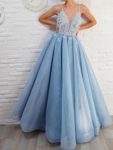Princess A-Line V Neck Open Back Light Blue Organza Long Prom Dresses with Appliques,Evening Party Dresses