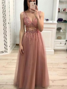 Charming A-Line V Neck Open Back Blush Tulle Long Prom Dresses with Beading,Formal Party Gown