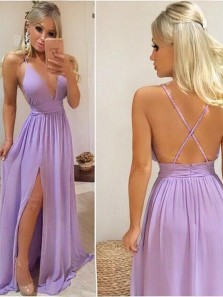 Cheap A-Line V neck Cross Back Lilac Chiffon Long Prom Dresses Under 100,Evening Party Dress with Slit