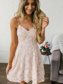 Cute A-Line V Neck Spaghetti Straps Pink Lace Homecoming Dresses,Short Prom Dresses
